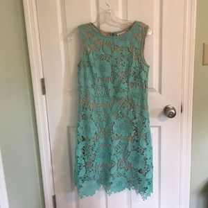 Turquoise lace overlay dress